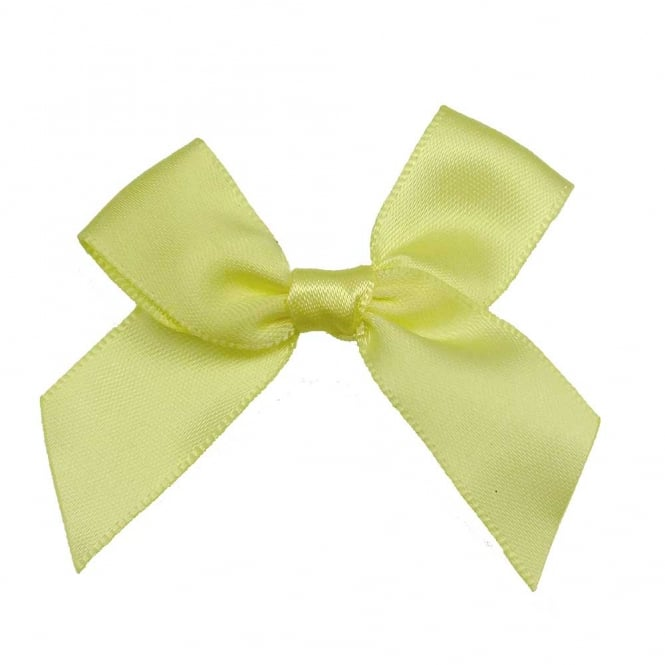 15mm Satin Ribbon Bows - Lemon - 10pk