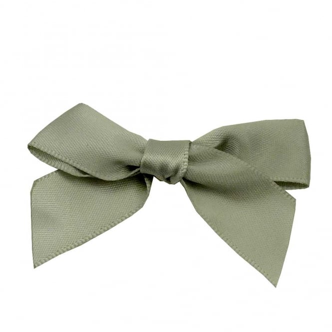 15mm Satin Ribbon Bows - Light Grey - 10pk