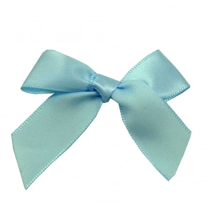 15mm Satin Ribbon Bows - Pale Blue - 10pk