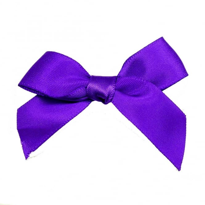 15mm Satin Ribbon Bows - Purple - 10pk