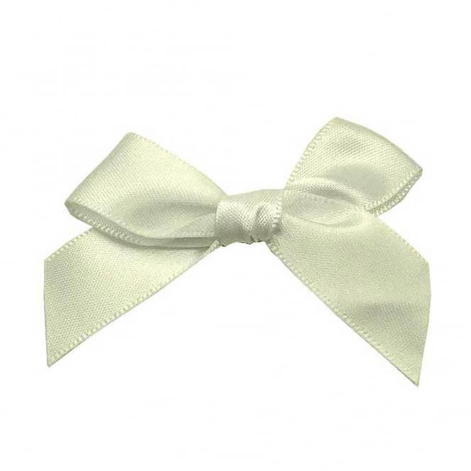 15mm Satin Ribbon Bows - White - 10pk