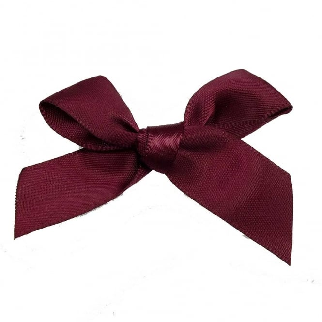 15mm Satin Ribbon Bows - Wine - 10pk