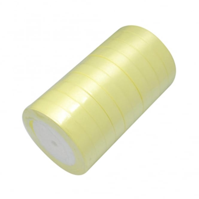 15mm Satin Ribbon - Light Yellow - 22m Roll