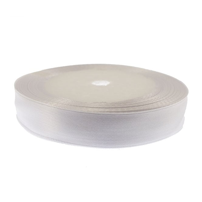 15mm Satin Ribbon - White - 22m Roll