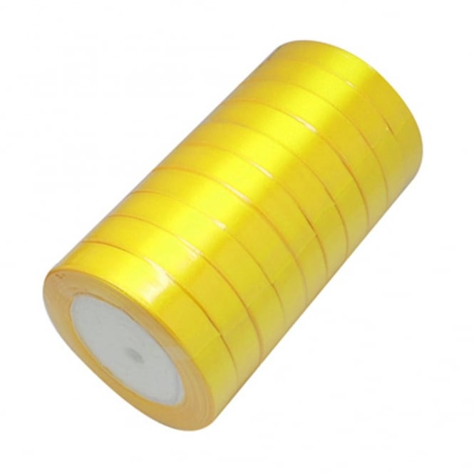 15mm Satin Ribbon - Yellow - 22m Roll