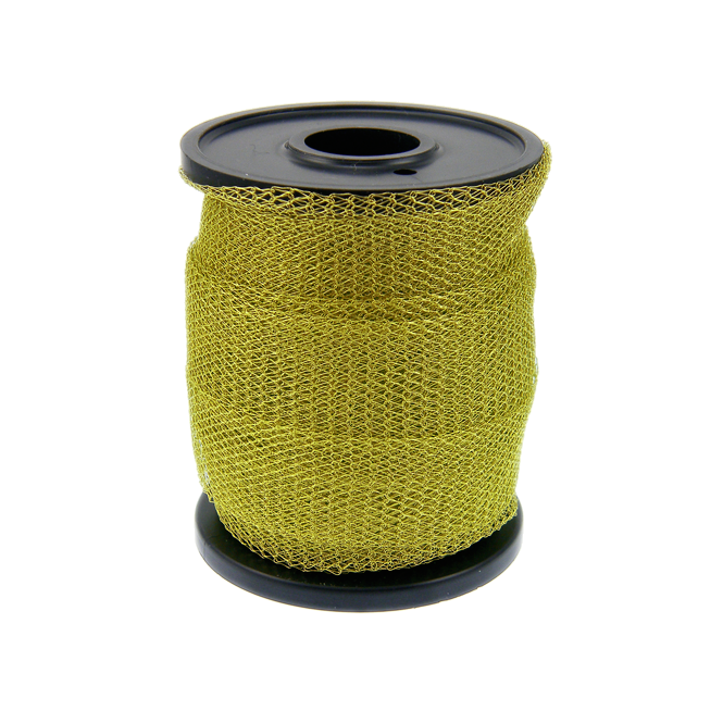 15mm Wide Knitted Copper Wire Mesh Tube - Chartreuse - 1 Metre
