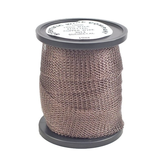 15mm Wide Knitted Copper Wire Mesh Tube - Gunmetal - 1 Metre