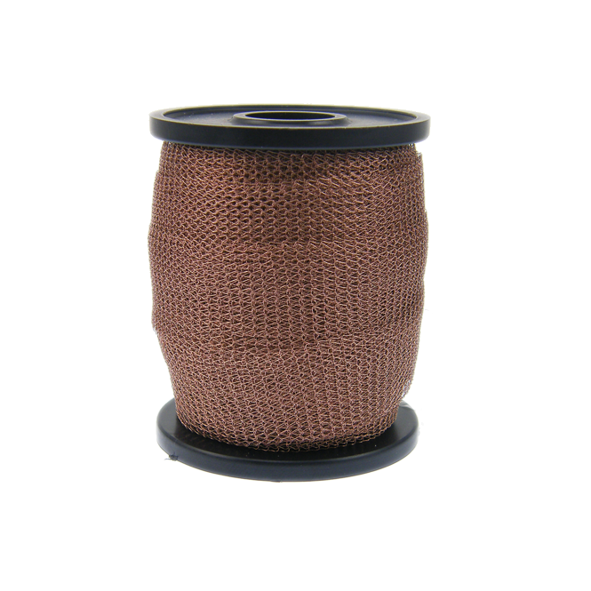 15mm Wide Knitted Copper Wire Mesh Tube - Light Brown - 1 Metre