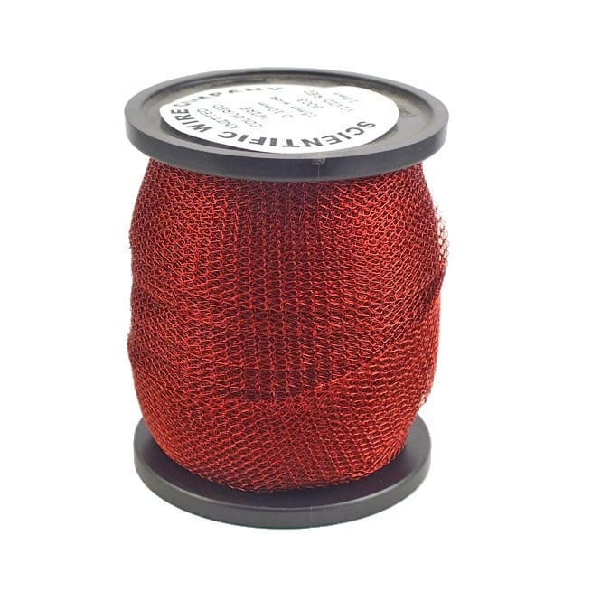 15mm Wide Knitted Copper Wire Mesh Tube - Red - 1 Metre