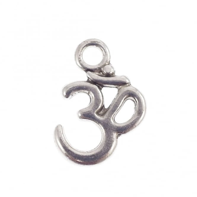 15x10mm Om Symbol Charm - Silver Plated - 10pk