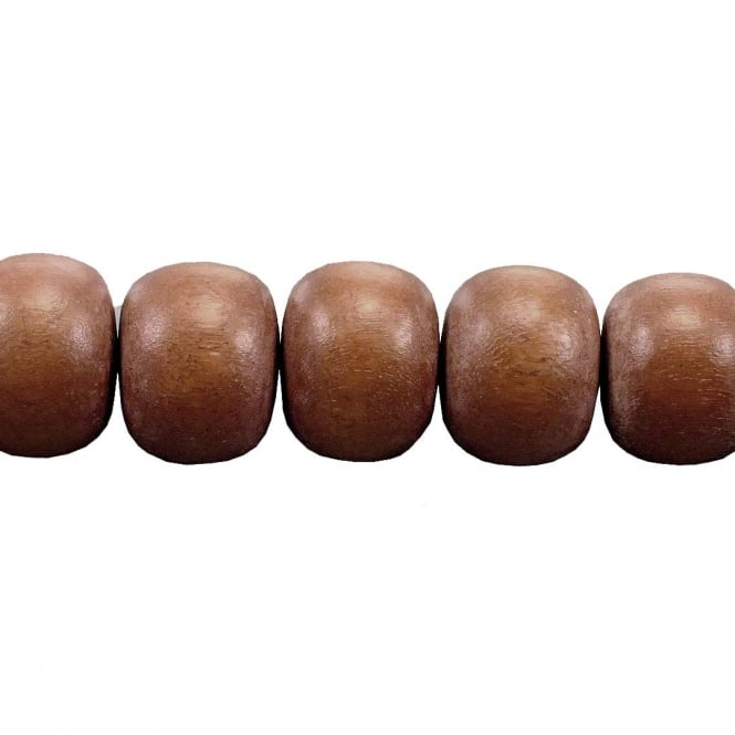 15x12mm Philippine Wood Barrel Beads - Brown - 16 Beads