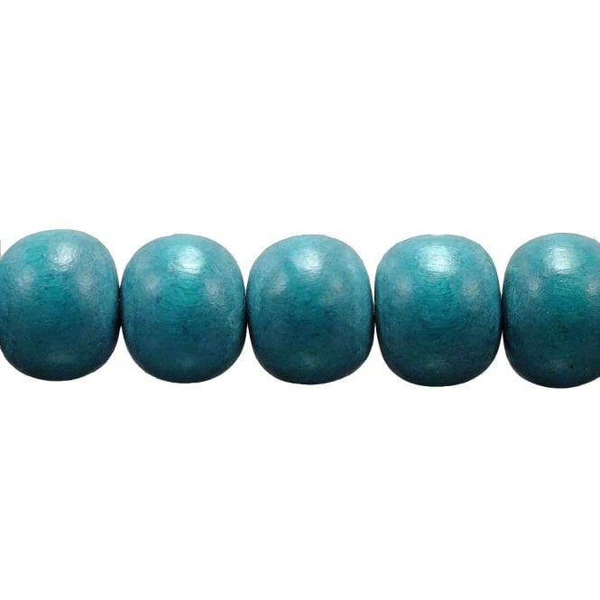 15x12mm Philippine Wood Barrel Beads - Teal - 16 Beads