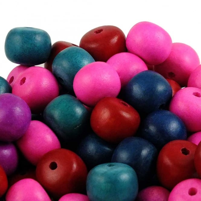 15x12mm Philippine Wood Puffed Rondelle Beads - Bright Mix - 20pk