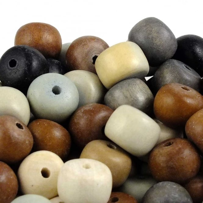15x12mm Philippine Wood Puffed Rondelle Beads - Natural Mix - 20pk