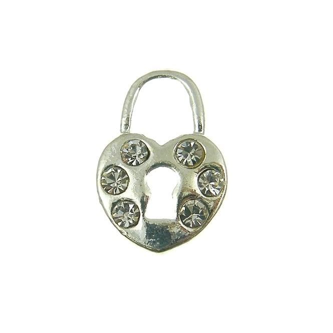 16mm Heart Lock Crystal Diamante Charm - Silver Plated - 1pk