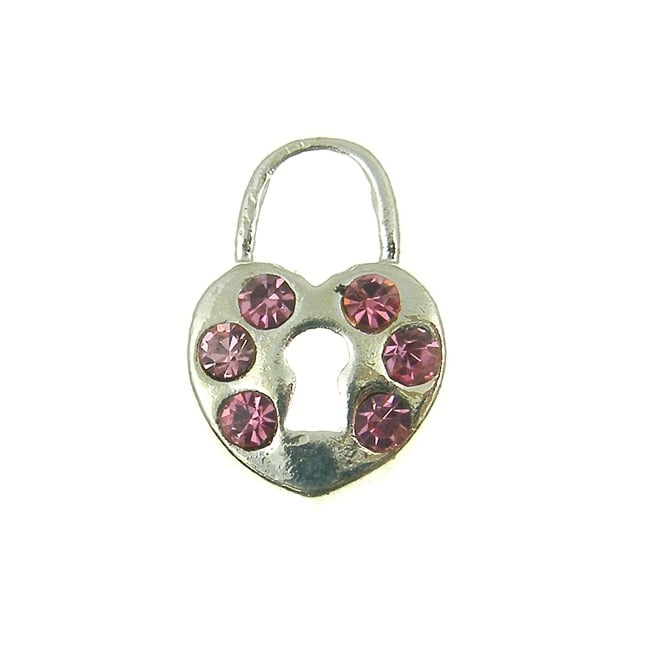 16mm Heart Lock Pink Diamante Charm - Silver Plated - 1pk