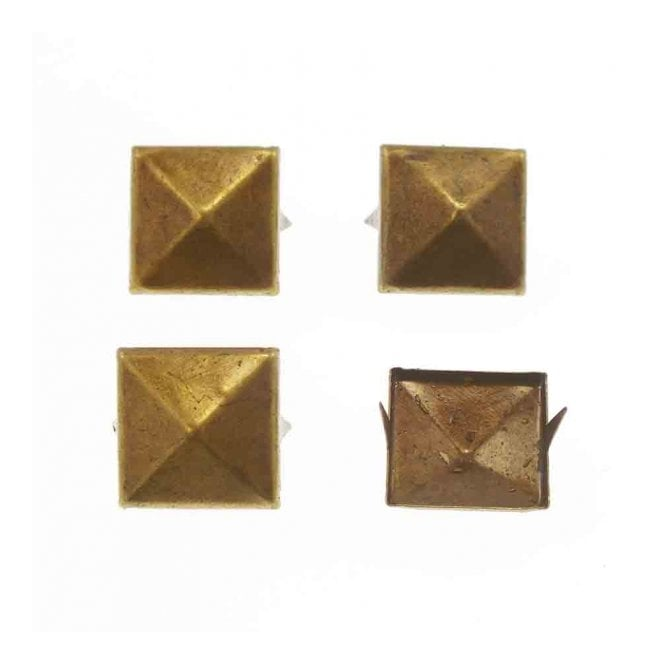 16mm Metal Square Pyramids Studs - Antique Gold - 10pk