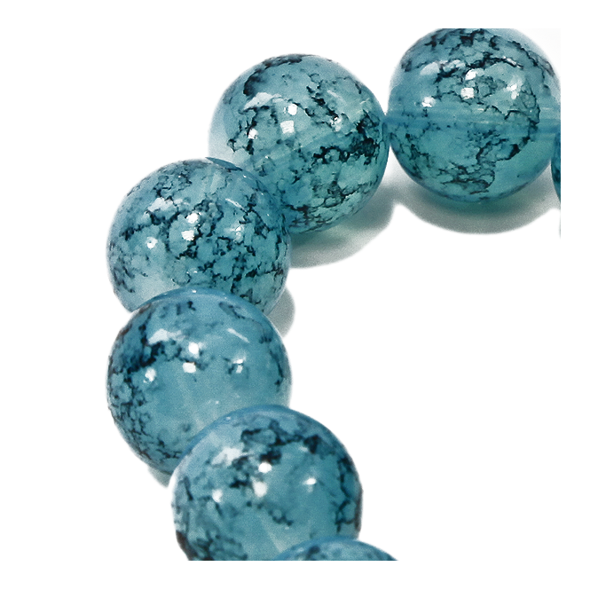 16mm Round Glass Marble Bead - Aqua - 1 String (13 Beads)