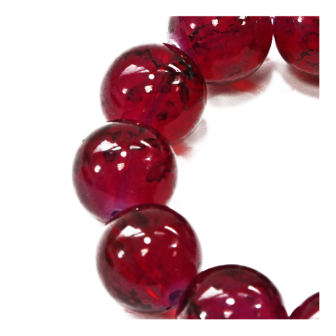 16mm Round Glass Marble Bead - Dark Pink - 1 String (13 Beads)
