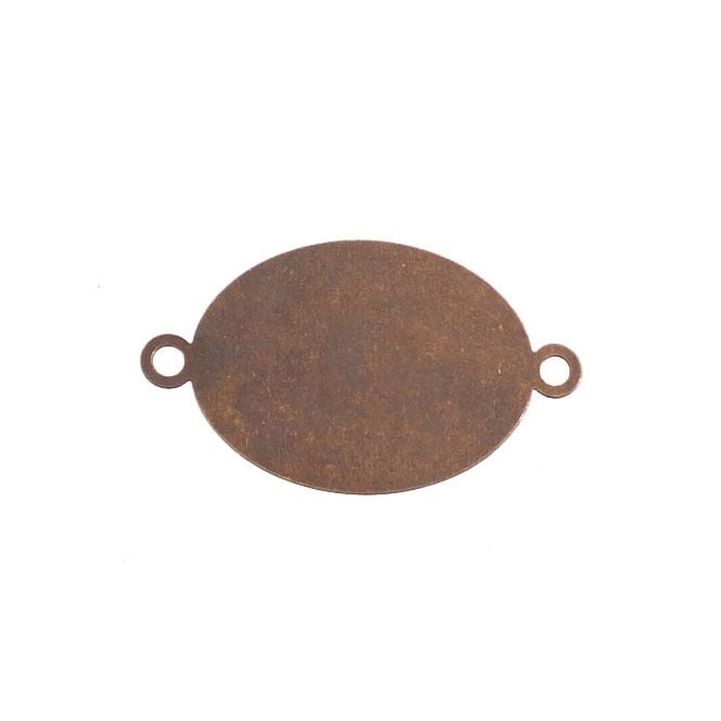 16x20mm Big Oval Flat Back Cabachon Connector - Antique Copper Plated