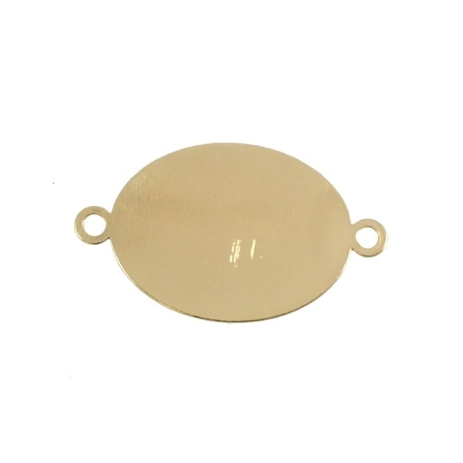 16x20mm Big Oval Flat Back Cabachon Connector - Gold Plated