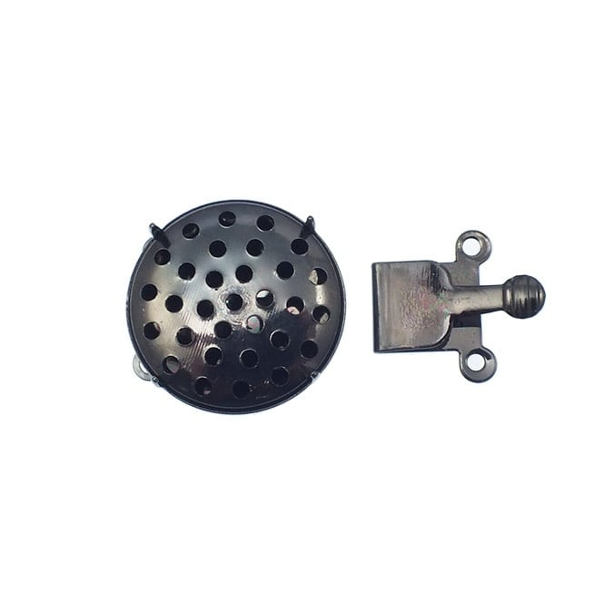 17mm Box Clasp With Sieve Top - Black Plated