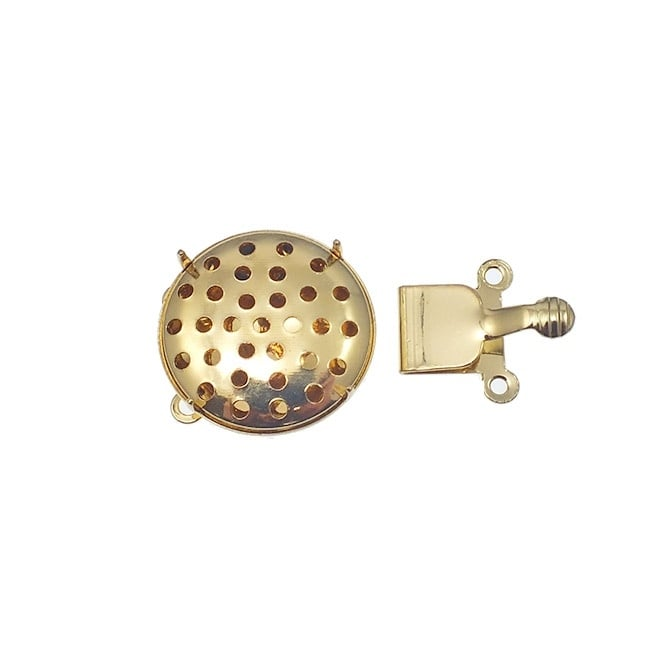 17mm Box Clasp With Sieve Top - Gold Plated