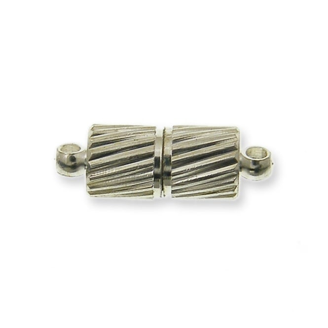 17mm Magnetic Tube Clasp - Silver Plated - 2pk