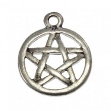 17mm Pentagram Charm - Antique Silver Plated - 10pk