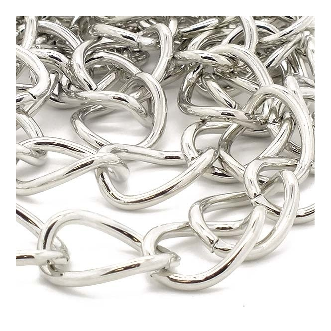 18.5x14mm Very Large Curb Chain - Dark Silver Plated - 1m