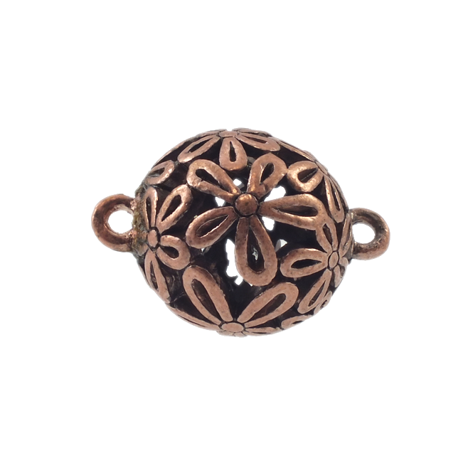 18mm Filigree Flower Connector - Antique Copper Plated - 1pk