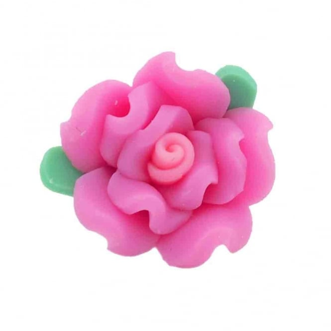 18mm Fimo Flower Bead - Rose Pink - 10pk