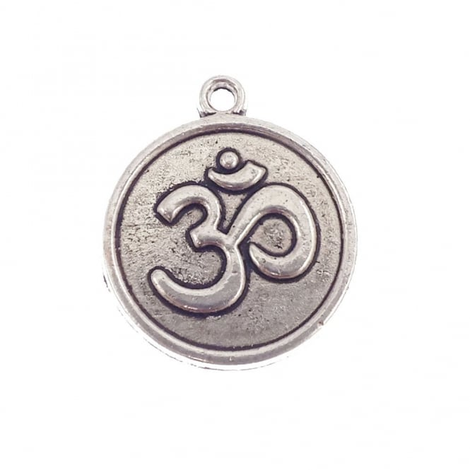 18mm Om Symbol Disc Charm - Silver Plated - 5pk