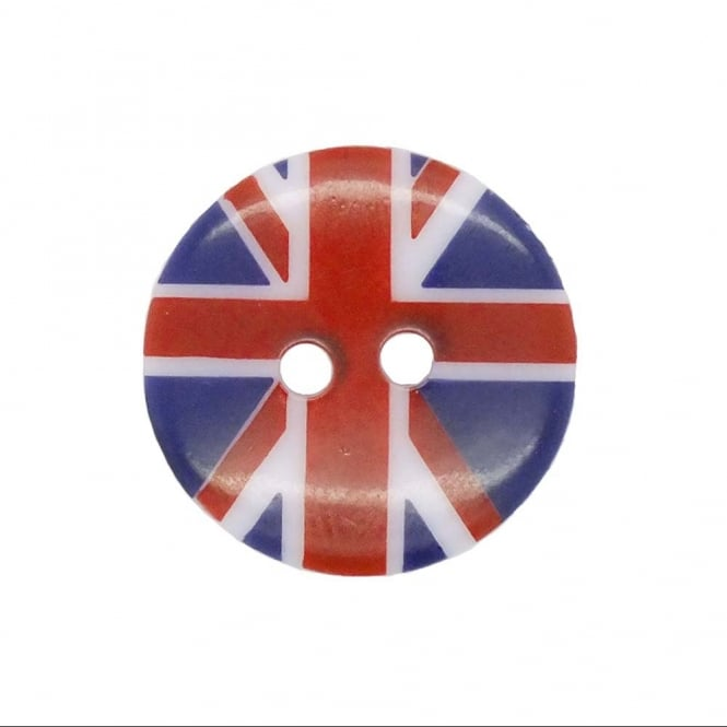 18mm Plastic Union Jack Round Button - 2pk
