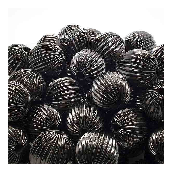 18mm Round Fluted Beads - Black Plated - 5pk