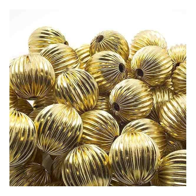 18mm Round Fluted Beads - Gold Plated - 5pk