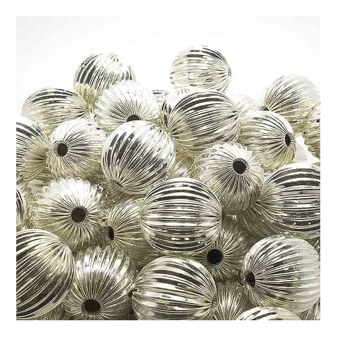 18mm Round Fluted Beads - Silver Plated - 10pk
