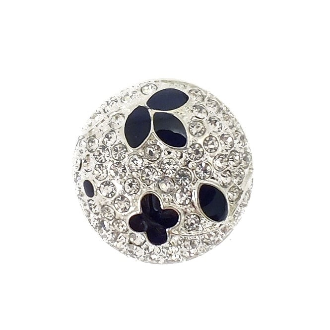 18mm Small Diamante And Black Flowers Button - Silver - 1pk
