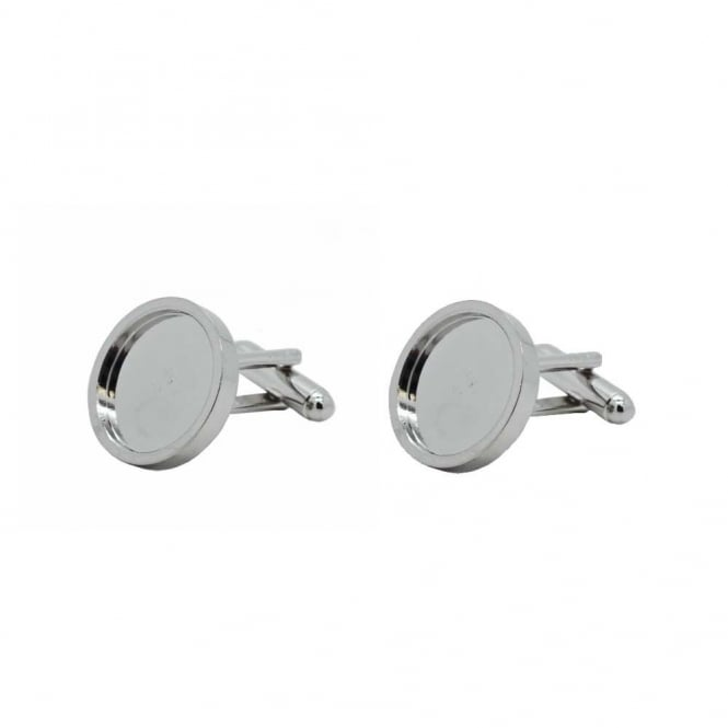 19mm Cufflink Cup Findings - Rhodium Plated - 2pcs (1 pair)