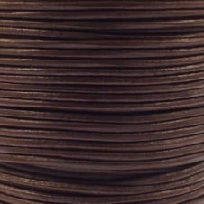 1mm Round Leather Cord - Brown - 5m