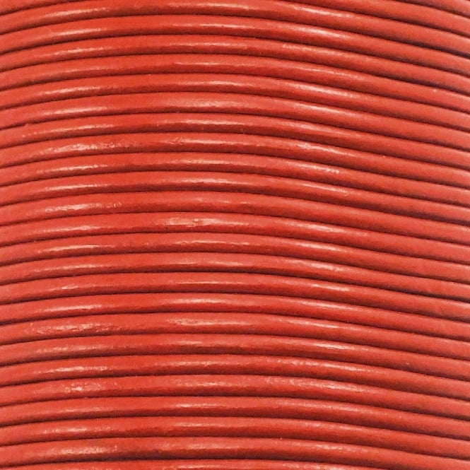 1mm Round Leather Cord - Burnt Orange - 5m