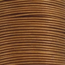 1mm Round Leather Cord - Metallic Gold - 5m