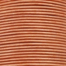 1mm Round Leather Cord - Metallic Peach - 5m