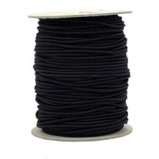 2.5mm Extra Stretchy Round Elastic Cord - Black - 5 metres