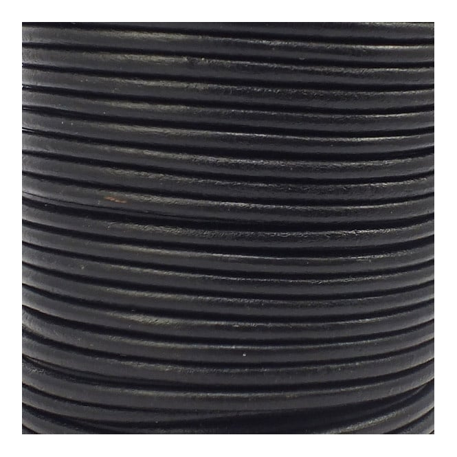 2.5mm Round Leather Cord - Black - 5m