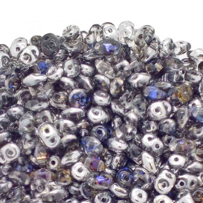2.5x5mm Czech Glass Super Duo Beads - Crystal/Heliotrope - 10g