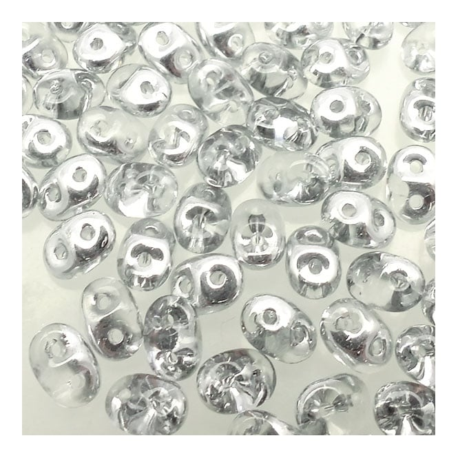 2.5x5mm Czech Glass Super Duo Beads - Crystal/Silver - 10g