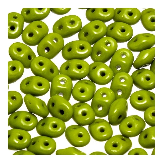 2.5x5mm Czech Glass Super Duo Beads - Opaque Olivine - 10g
