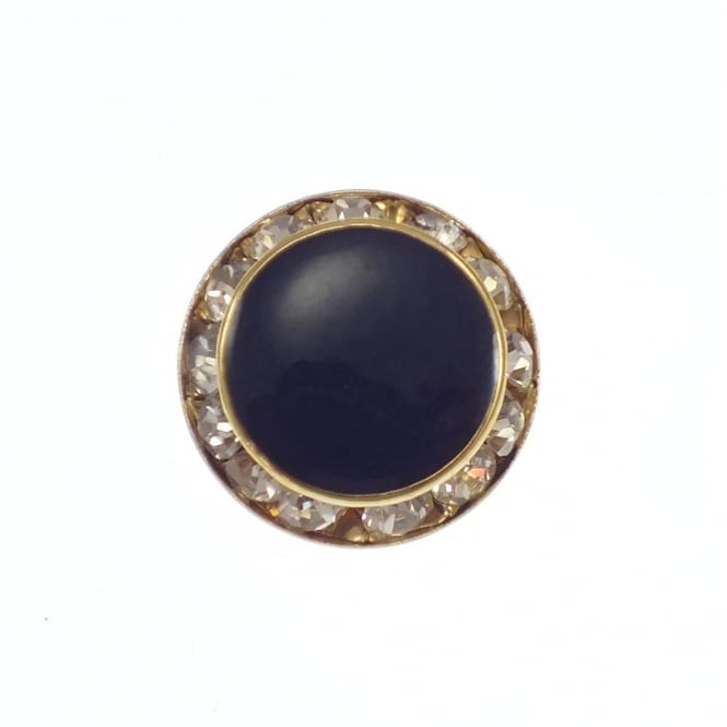 20mm Art Deco Style Crystal Button - Gold - 1pk