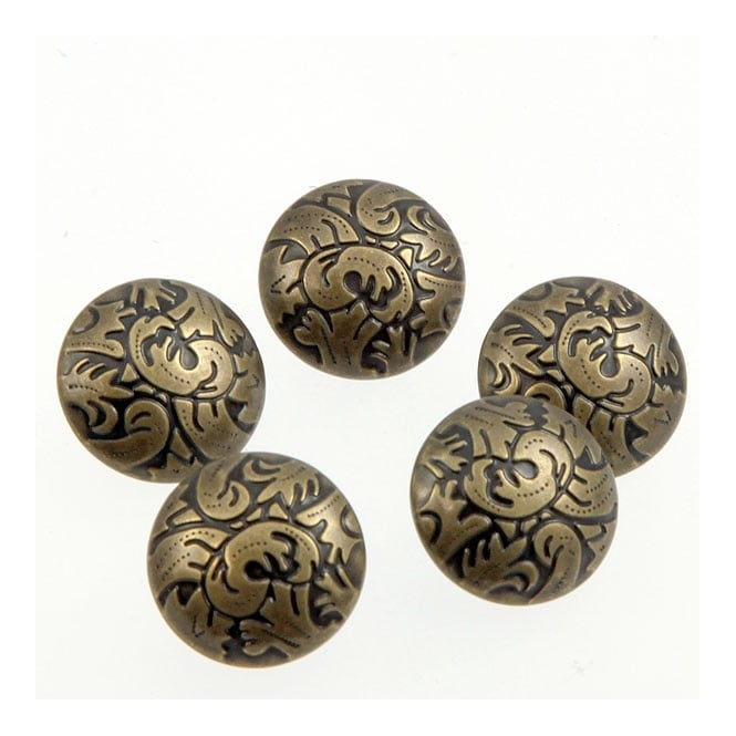 20mm Metal Branch Pattern Button - Antique Gold Plated - 10pk